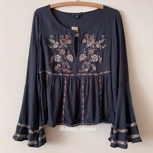 American Eagle Floral Embroidered Blouse